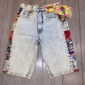 NOS Vtg Jordache Denim Shorts Acid Wash Stone Blue Jean NEW 80s 90s Kids Boys 12