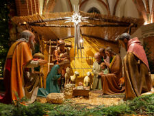 10x8ft Christmas Nativity Scene in Church Manger Photo Background Vinyl Backdrop
