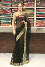 Magnificent Net Saree Designer Resham & Moti Bollywood Sari Indian Party Dress