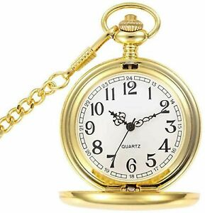 Gold Quartz 1920's Classic Peaky Blinders Pocket Watch Chain Vintage Retro