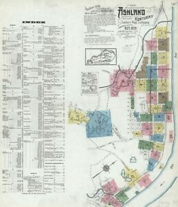 Ashley, Kentucky~Sanborn Map© sheets ~  130 maps in full color~1886 to 1920