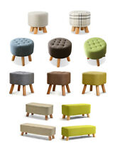10% OFF Fabric Rest Stool Footstool Chair Ottoman Rest Padded Top Pouffe Shapes