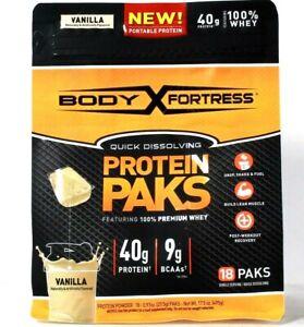 1 Bag Body Fortress 17.5 Oz Quick Dissolve Vanilla 40g Whey Protein 18 Paks