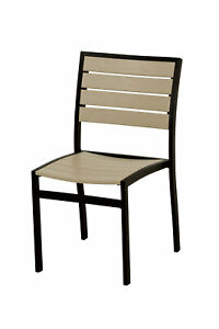 POLYWOOD A100FABSA Euro Dining Side Chair in Textured Black / Sand