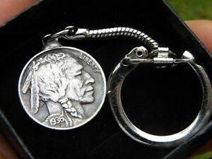 Key chain vintage buffalo Indian nickel coin nice gift motorcycle biker rider