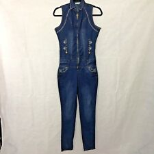 Vintage Denim Jumpsuit Jean Sleeveless Rhinestone Size 9 Retro 70's Halloween
