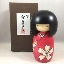 """Japanese Kokeshi Wooden Doll 5-1/8""""H SAKURA Flower Kimono Girl Made in Japan"""