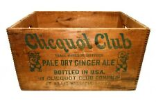 VINT CLICQUOT CLUB GINGER ALE WOOD SODA BOX CRATE, W/GREEN STAMPED INK MILLIS MA