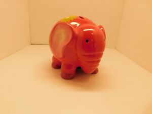 Ceramic Elephant Piggy Bank - Hot Pink with Flowers