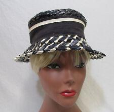 Vintage Womens Navy Blue & White Bucket Hat w/ Ribbon Band Plastic Wicker Weave