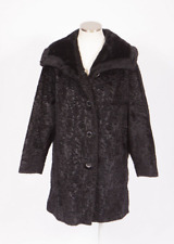 Vintage 60s Black Faux Fur Swing Coat Trench Duster Jacket Textured Boradtail L