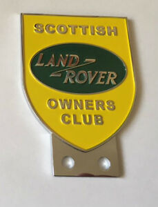Land Rover Scottish Owners Club Grill Bumper Badge Top Quality Stainless Fixings
