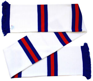 Rangers Supporters White Blue, White and Red, Retro Bar Scarf - Made in the UK