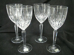 """4 Mikasa ICICLES Crystal 8 1/4"""" Water Goblet Glass"""