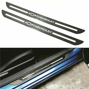 2x For Chevrolet Carbon Fiber Car Door Welcome Plate Sill Scuff Cover Decal USA