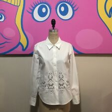 Theory Size M White Cotton Lace Long Sleeve Shirt