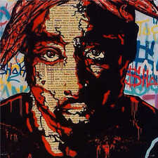 Alec Monopoly Oil Painting on Canvas Urban art wall decor 2PAC Portrait 28x28""