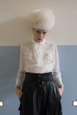 Damen Bluse weiß transparent Rüschen 60er True VINTAGE woman blouse white frills