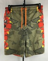 Maui and Sons Board Shorts Boys Large (14/16) Camo Flowers Swim Trunks EUC