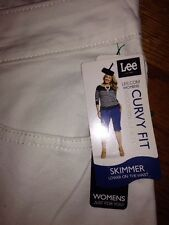 Lee Curvy Fit Skimmers White Denim Women's Plus 22W M New MSRP $44 Ships Free