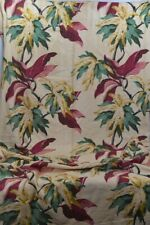 bark cloth fabric leaves cotton gold maroon green 40x74 original vintage