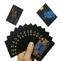 BT_ Waterproof Gold Black Plastic PVC Poker Magic Table Board Game Playing Cards