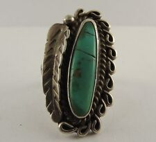 Sterling Silver Native Turquoise Feather Ring Tribal
