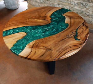 Round Green Epoxy, Natural Walnut Wooden, Premium Quality TABLE Made To Order