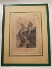 RARE SIGNED  Antique  Engraving of Carcassonne Tour de Justice by Leopold Robin
