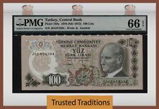 TT PK 189a 1970 TURKEY 100 LIRA PMG 66 EPQ GEM UNCIRCULATED POP TWO - ONE FINER!