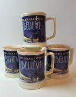 4 pk The Polar Express BELIEVE 3D Raised Ceramic Coffee Hot Chocolate Mug Cup