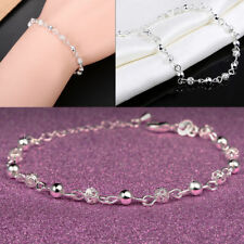 New Women 925 Sterling Silver Ball Crystal Chain Bangle Cuff Charm Bracelet