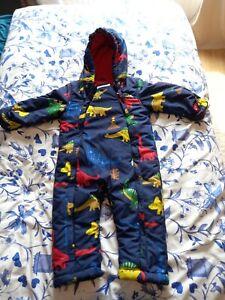 M&S Baby Ski Suit/ Snow Suit/ Pram Suit/ All In One - Navy Dinosaur 18-24 Months