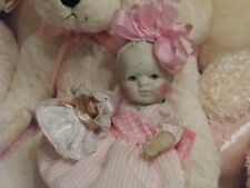 "Antique Bisque Baby Doll 7"" Jointed w/Blue Glass Eyes Dressed in Powder Pink"