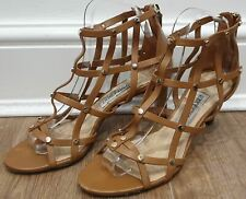 JIMMY CHOO Tan Brown Leather Studded Strappy Cage Sandals Shoes 38.5 UK5.5