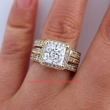 Genuine Solid 9ct Yellow Gold Engagement Wedding 3 Rings Set Simulated Diamonds