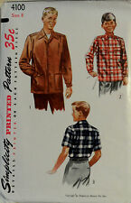 Vtg 1950s Boy's Shirt   Patch Pockets w/ Flaps Simplicity 4100 Size 8 Chest 26