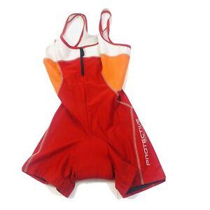 Protective Womens Cycling Bibshorts Compression Shorts Bib Padded Red Sz 36 S ?