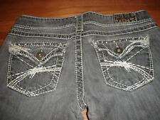 SILVER JEANS MCKENZIE WASHED BLACK SLIM BOOTCUT CONTRAST STITCH CRYSTALS W28/L32