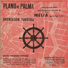 1960 Vicente Rotger PLANO DE PALMA Mallorca Majorca Meliá Rent-A-Car Road Map