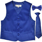 New Boy's Kid's formal Tuxedo Vest Waistcoat necktie  bowtie Royal blue 2-14