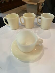 Vintage 1940 Lot Fire King Oven Ware D Handle Round Ivory Mug Coffee Cups Saucer