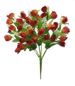 36 Red Orange Artificial Mini Rose Buds Silk Flowers Wedding Bouquet Fake Faux