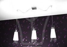 sospensione lampadario soffitto 3 luci cromo vetro bordi trasparenti cucina sala