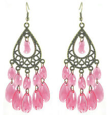 C1243 bronze water drop pink bead cute women chandelier/dangle hook earrings