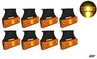 8 Pcs Orange Amber 4 Led 12v Side Marker Lights Indicator Truck Lorry Trailer
