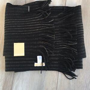 Michael Kors Scarf Black Marl Stripe Raschel Muffler NWT 33500C