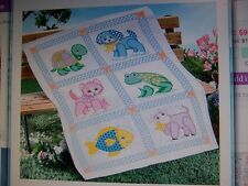 HERRSCHNERS TOY ANIMALS BLOCKS BABY QUILT TOP STAMPED for CROSS STITCH 34x43