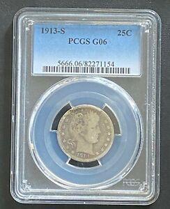 1913-S Barber Quarter PCGS G-06, Key Date Coin, Tough Date, Full Rim Reverse
