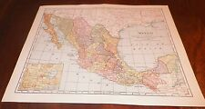 1899 Mexico Map The Matthews-Northrup Co. Buffalo N.Y. Railroads Capitals